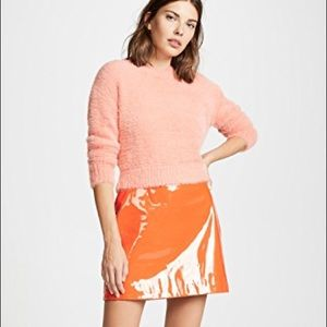 NWT STAUD RARE orange vinyl patent mini skirt S